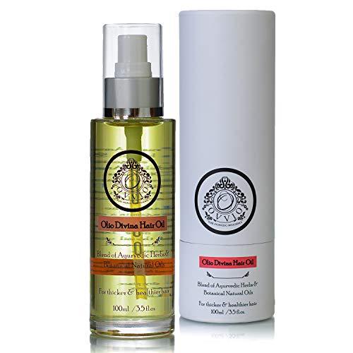Olio Divina Aceite para el pelo de hierbas, mezcla de hierbas ayurvedicas y aceites puros, promueve el crecimiento del cabello y reduce la pérdida de cabello, 220 ml, fabricado en el Reino Unido.