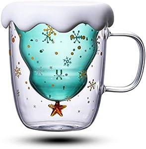 Hongfago Tazas de Navidad, café o té, vasos de café, vasos de café, vasos de doble pared, vasos térmicos para espresso, taza de gato, creativos para leche, té, whisky, taza de regalo, con tapa