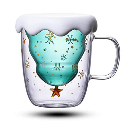 Hongfago Weihnachten tassen Kaffee Teegläser Trinkgläser Kaffeeglas Doppelwandige Isoliergläser Espressotasse Katze Becher | Kreative Milchbecher Tee Whisky Glas Tasse Geschenk Tassen - Mit Deckel