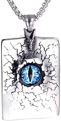 LLJHXZC Collar Acero Inoxidable Vintage Rojo Azul Ojos malvados Falda Punk Etiqueta de Perro Colgante Collar Regalo de Motorista para él con Cadena de 60 cm
