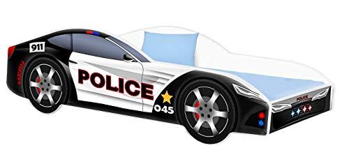 Kinderbett Polizei Autobett Jugendbett 70x140 80x160 80x180 Weiß mit Rausfallschutz Matratze und Lattenrost Kinderbetten für Mädchen und Junge - 140x70 - Schwarz
