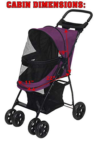 Pet Gear No-Zip Happy Trails Lite Pet Stroller for Cats/Dogs, Zipperless Entry, Easy Fold with Removable Liner, Storage Basket + Cup Holderr, Boysenberry 5