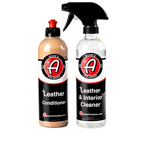 Adam's Leather Care Kit - Leather Cleaner & Leather Conditioner Car Cleaning Supplies | UV Protection for Interior Accessories Steering Wheel Seat Dash Vinyl Shoe Polish Jacket | Safe Auto Chemical