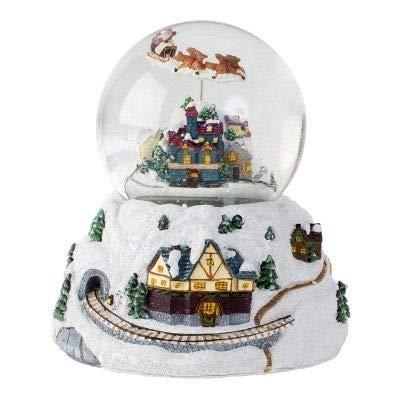 Minium Collection Schneekugel Weihnacht Fliegender Santa mit Drehspieluhr Snowmotion und LED 120mm