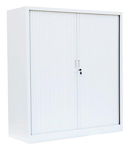 Querrollladenschrank Sideboard 120cm breit Stahl Büro Aktenschrank Rollladenschrank 555147 (HxBxT) 1350 x 1200 x 460 mm weiß kompl. montiert und verschweißt