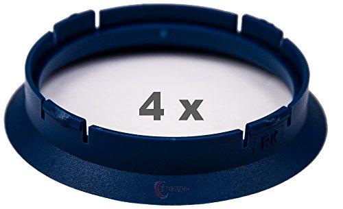 4 x Zentrierringe 63.3 mm auf 57.1 mm blau/blue