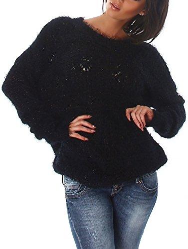Jela London Damen Glitzer Kuschel Pullover Häkel-Strick Hairy Fransen Glanz Feinstrick Sweater flauschig Muster Langarm, Schwarz 38 40