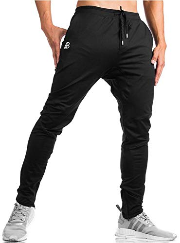 TBMPOY Men's Tapered Running Jogger Athletic Pants Gym Training Pants Zipper Bottom(Black,US L)