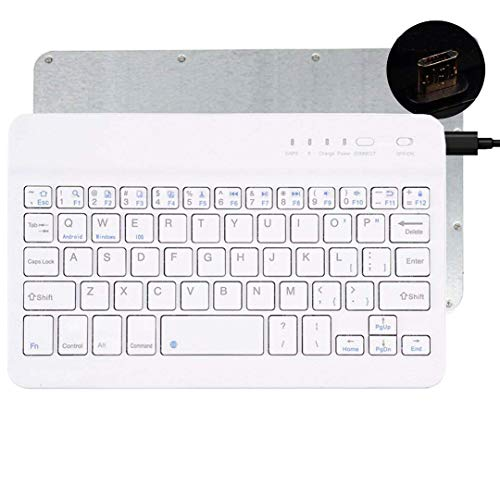 Tempo QWERTY Italiano Layout Tastiera Wireless Bluetooth Keyboard 7  Compatibile Qualsiasi Android Windows IOS-Smartphone Tablet,Samsung Galaxy Tab,Google Nexus,Amazon Fire-Bianco