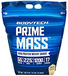 BodyTech Prime Mass High Proetin Weight Gainer with 55 Grams of Protein per Serving to Support Muscle Growth Performance Blend of Creatine, Glutamine BCAA's Vanilla (12 Pound)