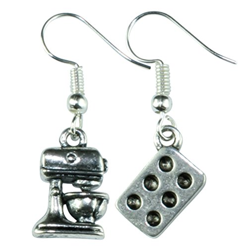 The Funky Barcode BAKERS KITCHEN MIXER & TRAY DANGLE EARRINGS Gift Box Available