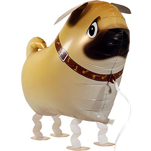 Airwalker / Walking Tier Ballon Helium Folienballon Haustiere Luftballon für Kinder Geburtstag Party Heliumballon XXL Hochzeit Kinder Geschenk Party JGA Dekoration Tierballons laufen (Mops Hund)