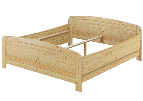 Erst-Holz® Seniorenbett extra hoch 180x200 Doppelbett Holzbett Massivholz Kiefer Bett ohne Zubehör 60.44-18 oR