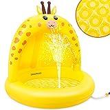 lenbest Babypool, Giraffe Baby Splash Pool mit verdickender Überdachung und extra weichem Blasenboden, aufblasbarer Babypool mit Wasserspaß Sommer Indoor Outdoor Gartenstrand für Kinder