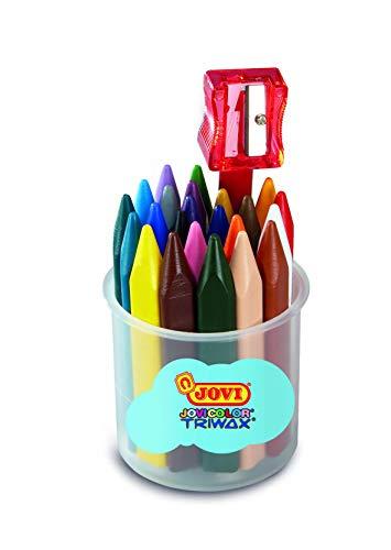 Jovi–Crayons Triangular triwax, Pot of 24Crayons Assorted with 1Pencil Sharpener (975)