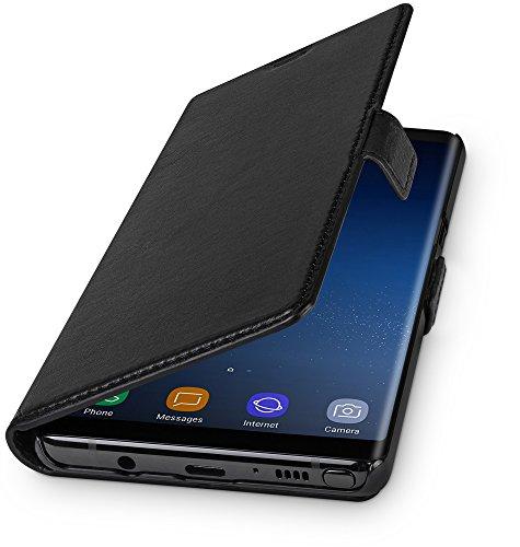 WIIUKA Echt Ledertasche - TRAVEL - für Samsung Galaxy Note 9 mit Kartenfach, extra Dünn, kabelloses Laden Qi, Tasche Schwarz, Leder Hülle kompatibel mit Samsung Galaxy Note 9
