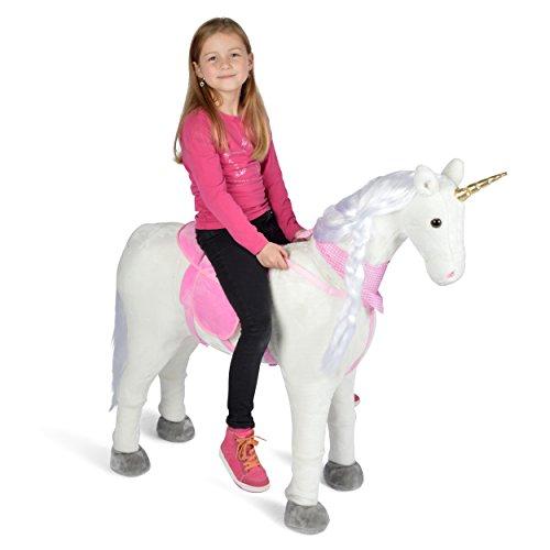 Pink Papaya Plüschpferd XXL 105cm Einhorn - Lissy, das riesige Pferd zum Reiten, tolles Stehpferd XXL, bis 100kg, Spielpferd Einhorn XXL zum Draufsitzen - EIN Kindertraum für Mädchen!