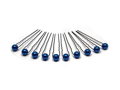 10 x Perlen Haarnadeln - Brauthaarschmuck, Haarschmuck, Perlenhaarnadel | 10PS - Blau