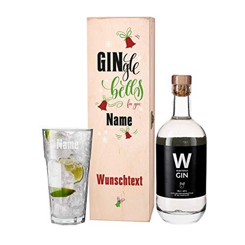Herz & Heim® Wuestefeld Gin Weihnachtsgeschenk mit graviertem Glas in Geschenkbox - GINgle bells