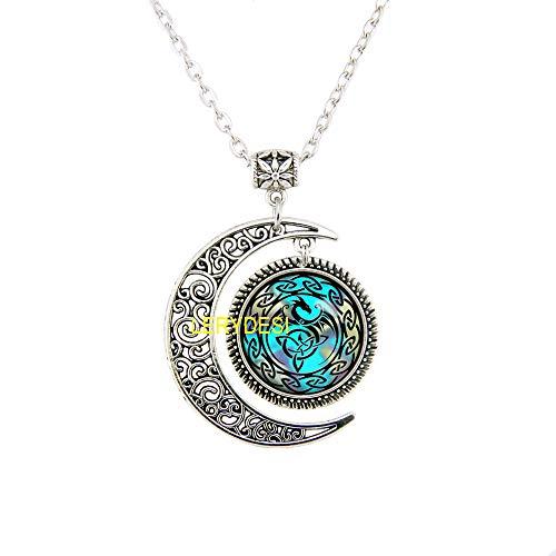 LERYDESI Celtic Dragon Jewelry Set Necklace Celtic Knot Bracelet Trinity Moon Necklace Triquetra Viking Rune Pendant Silver Asatru Occult Unisex (18 inches Chain, Necklace)