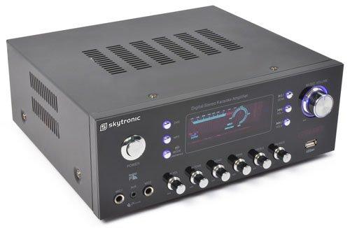 Skytronic AV-120FM Stereo HiFi Verstärker Karaoke Receiver (USB-MP3-Slot, 120W RMS, 2 Mikrofon-Eingänge, UKW-Radio) schwarz