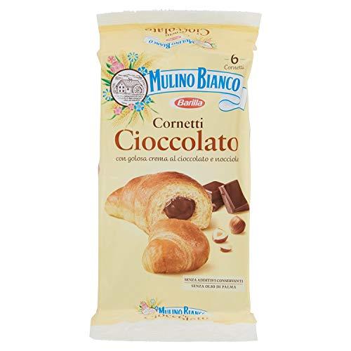 Mulino Bianco Cornetti con Crema di Cioccolato e Nocciole, 6 Cornetti, 300g