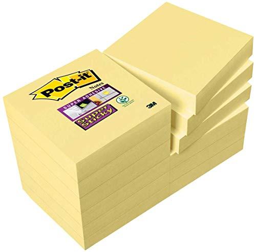 Post-it 622SY9+3 Haftnotiz Super Sticky Notes Promotion, 48 x 48 mm, 12 Blöcke, 90 Blatt, gelb