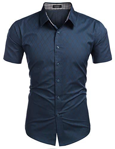 COOFANDY Herren Hemd Kurzarm Regular Fit Basic Freizeithemd Bügelleicht Herrenhemden Kentkragen Brusttasche Business Hemden Für Männer Grün XL