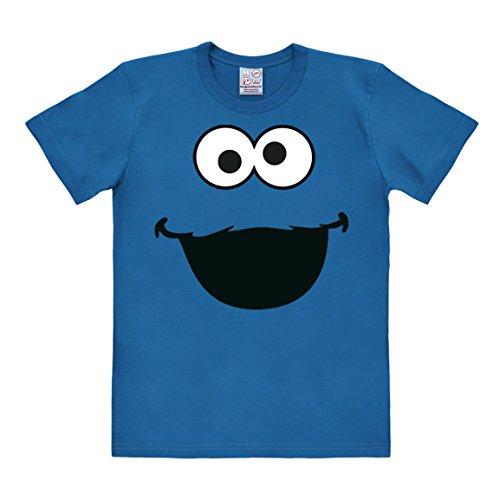 Logoshirt Krümelmonster T-Shirt - Gesicht - Sesamstrasse T-Shirt Original - Rundhals T-Shirt Cookie Monster Shirt - blau - Lizenziertes Originaldesign, Größe M