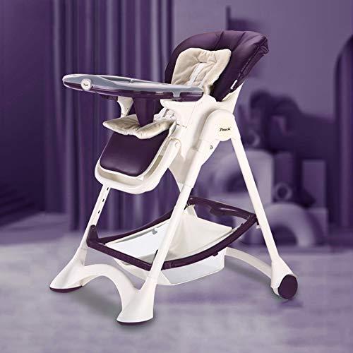 GGJJ ZHZZ Silla Plegable de Comedor, Multifuncional portátil y Simple de niños Mesa de Comedor y sillas Ajustables a Salvo y Seguro Anti-Down Material de Protección Ambiental PP,Púrpura