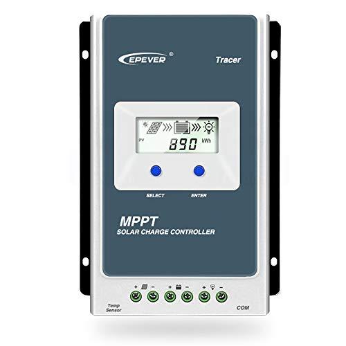 Regulador de carga solar de Qaurora, MPPT Tracer serie A (10A/20A/30A/40A) con sistema de identificación automática del voltaje 12 V o 24 V CC, 30A