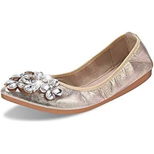 QIMAOO Womens Fold up Pumps Roll up Shoes Foldable Ballet Flats with Rhinestone, Portable Ladies Slip On Loafers