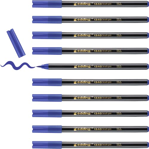 edding 1340-03 - Caja de 10 rotuladores con punta de pincel, trazo variable, color azul