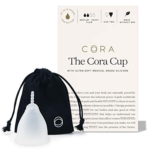 Cora Menstrual Cup, Reusable Period Cup - Ultra-Soft, Comfortable & Leak-Proof Medical Grade Silicone - Tampon and Pad Alternative - Size 2, Medium-Heavy Flow