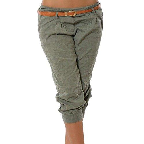 ShallGood Pantalones Capri para Mujer Pantalones Baggy Moda Color Sólido Chino Casual Shorts 3/4 Boyfriend Cintura Elástica Yoga Pantalones Cortos