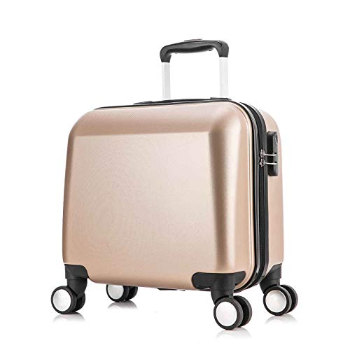 wheeled spinners 18'' Underseat Luggage with Multi-directional Spinner Wheels Lightweight Hardshell Underseater Carry on Luggage for Airplanes (Champagne Gold)