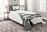 Lunarable Eiffel Tower Bedspread, Eiffel Tower in Paris Historic Famous Landmark Wintertime Picture Print, Decorative Quilted 2 Piece Coverlet Set with Pillow Sham, Twin Size, White Black