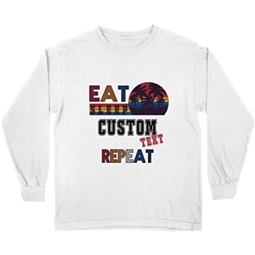 lepni.me Kinder T-Shirt Benutzerdefiniertes Essen Schlafwiederholung Vintage-Geschenk (9-11 Years Weiß Mehrfarben)