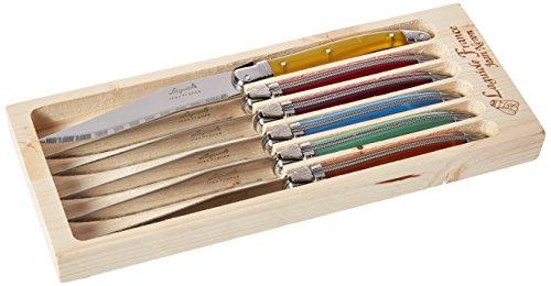 Neron Coutellerie 6 Piece Laguiole Steak Knife Set with Plates, Multicolor