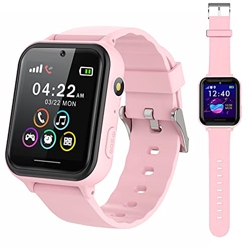 PTHTECHUS Smart Watch for Kids - Boys Girls Smartwatch with 2 Way Phone Calls SOS Games Music MP3 Player HD Selfie Camera Calculator Alarm Timer 12/24 Hours for 4-15 Years Old Students