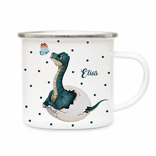 ilka parey wandtattoo-welt Emaille Becher Camping Tasse Dino aus dem Ei mit Schmetterling & Name Wunschname Kaffeetasse Geschenk eb413