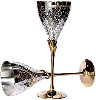 TUZECH Pure Silver Plated Engraved Premium Goblet Champagne Flutes Coupes Wine Glass Party Glass Set Dining Set Cutlery Business Gift (2, Hand Engraved Wine Glass)