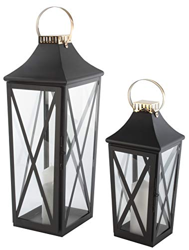 Bingo-Shop Laterne 2er Set XXL Gartenlaterne Metall Windlicht Laternen Kerzenhalter Set Kerzenleuchter F35
