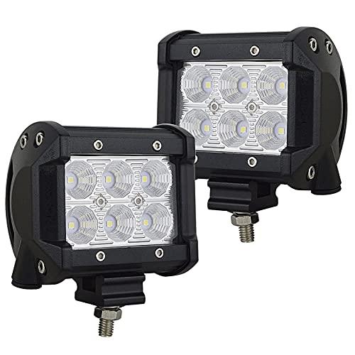 AUXTINGS 2 stycken 10cm 4-tums 18W översvämnings-LED-arbetsbelysning terränglastbilar SUV 4WD kördimpljus