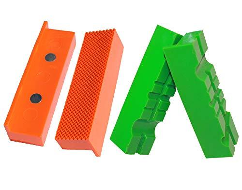 Weiche Schraubstock-Schutzbacken | GRIP&BENDER 100MM-125MM | 4er-Set | Magnetisch | Schonbacken aus TPU-Kunststoff | Diese Spannbacken Schützen Ihr Werkstück | (117MM-Set)