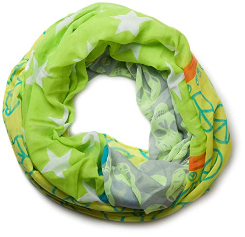 styleBREAKER Sterne Peace Totenkopf Skull Muster Loop Schlauchschal 01016044, Farbe:Hellgrün-Gelb