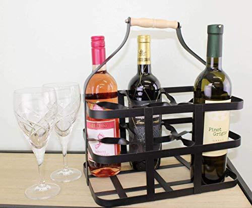 Portabidón de 6 botellas de vino, estilo vintage, resistente de metal, color negro