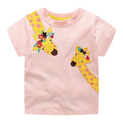 VIKITA Mädchen T-Shirt Baumwolle Kurzarm Regenbogen Cartoon Mustern EINWEG JM6255 7T