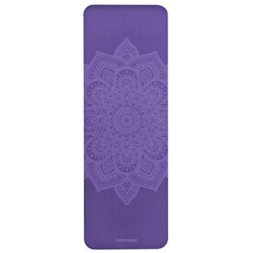 "Retrospec Solana Yoga Mat 1/2"" Thick w/Nylon Strap for Men & Women - Non Slip Excercise Mat for Yoga, Pilates, Stretching, Floor & Fitness Workouts, Violet (3711s)"