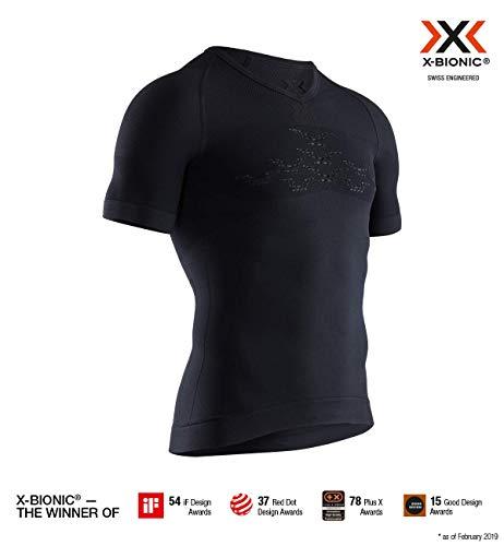 X-Bionic Energizer 4.0 Light Shirt V Neck Short Sleeve Men, T Uomo, Opal Black/Arctic White, L